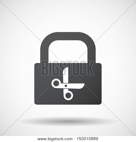 Isolated Lock Pad Icon With A Scissors