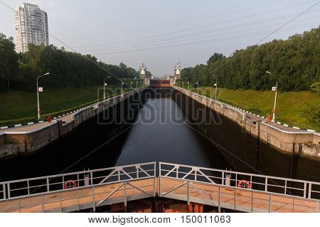 Locks on the Moscow River, panoramic view