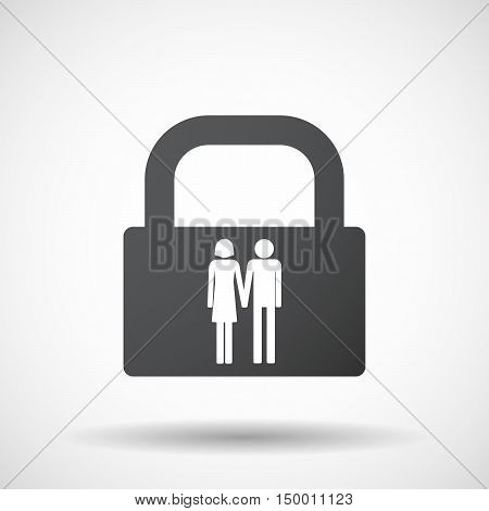 Isolated Lock Pad Icon With A Heterosexual Couple Pictogram