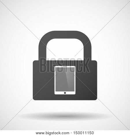 Isolated Lock Pad Icon With A Tablet Computer