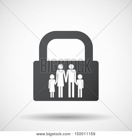 Isolated Lock Pad Icon With A Conventional Family Pictogram