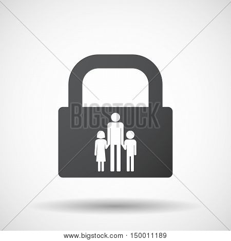 Isolated Lock Pad Icon With A Male Single Parent Family Pictogram