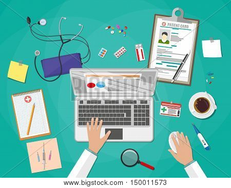 doctor working at laptop, medical and healthcare devices and pills. vector illustration in flat style on green background