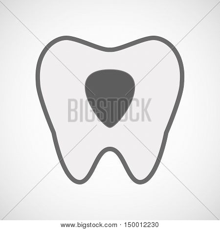 Isolated Line Art Tooth Icon With A Plectrum