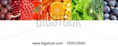 Color fruits and vegetables. Collage of mixed fruits and vegetables. Healthy food concept. Organic food