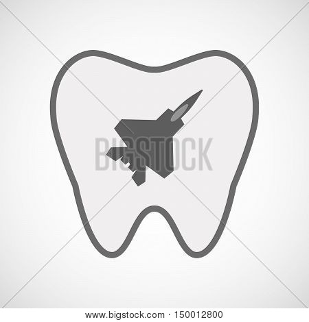 Isolated Line Art Tooth Icon With A Combat Plane