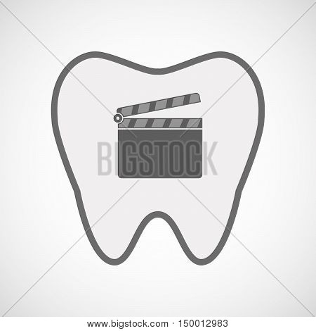 Isolated Line Art Tooth Icon With A Clapperboard