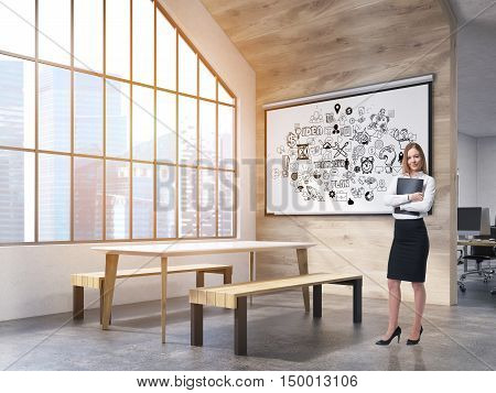 Woman in office interior with whiteboard with business sketches table and benches and attic window. New York City. Concept of office recreation area. 3d rendering.