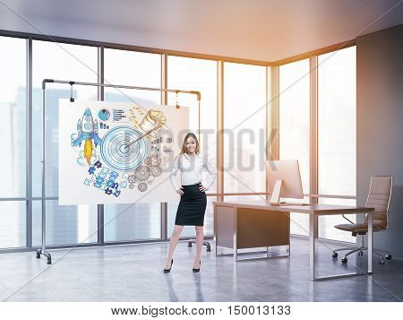 Businesswoman standing in sunlit office with large target sketch drawn on whiteboard. Table with computer and panoramic windows are at the background. 3d rendering. Toned image
