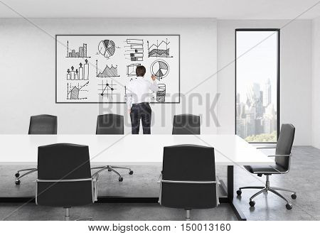 Rear view of businessman working at graph on whiteboard in board room of large company. Concept of presentation. 3d rendering
