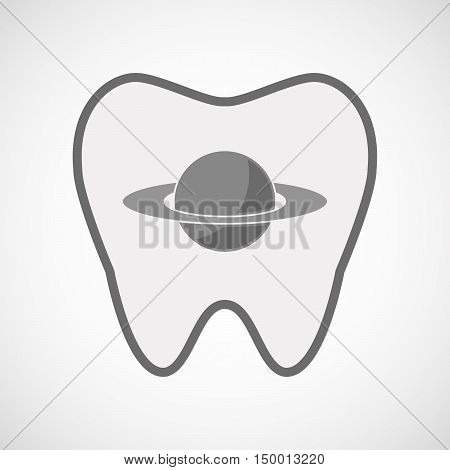 Isolated Line Art Tooth Icon With The Planet Saturn