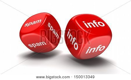 3D Illustration. Dices with info and spam. Image with clipping path