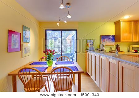 Happy Yellow And Purple Kitchen And Dining Table