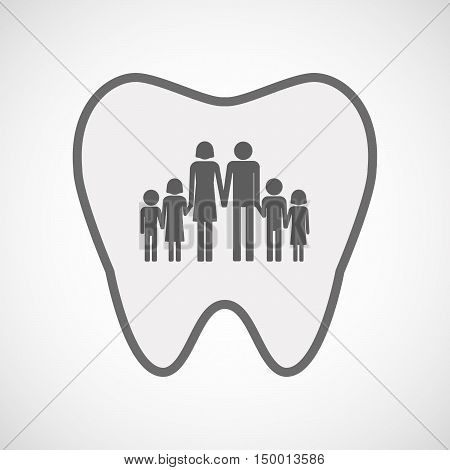 Isolated Line Art Tooth Icon With A Large Family  Pictogram