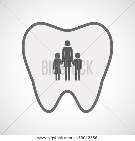 Isolated Line Art Tooth Icon With A Female Single Parent Family Pictogram