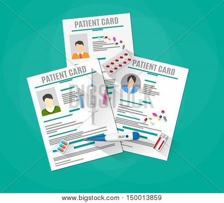 Patient cards and thermometer. pills, capsules, syringe, tablets. Healthcare, hospital and medical diagnostics concept. vector illustration in flat style