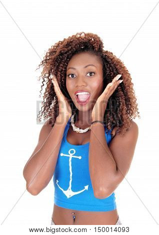 A lovely slim African American woman standing in front in a portrait image with her mouth fare open isolated for white background.