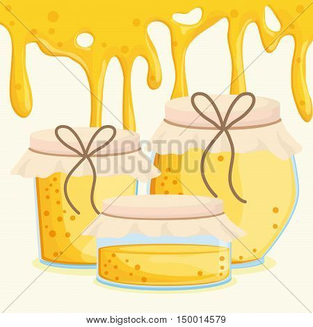 Honey dripping and jar icon. Honey healthy and organic food theme. Colorful design. Vector illustration