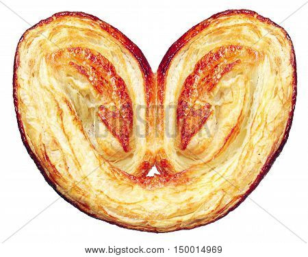 Sweet pastry puff pastry in the shape of heart isolated on white