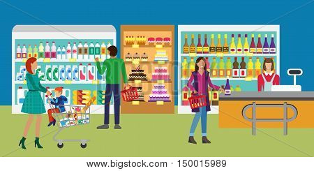 Concept banner for Shop. People in supermarket, family shopping. Customers service and working process in supermarket. Store assortment.