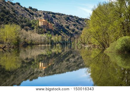 Beautiful Landscape With River Duero, St. Saturio Chirch And Reflections In Water