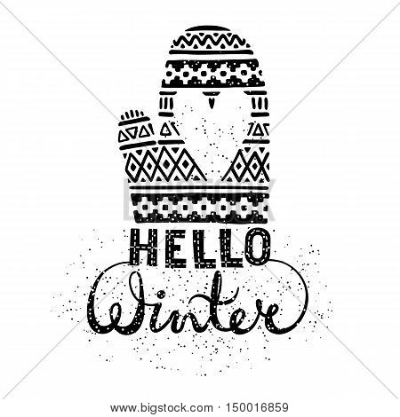 Hello winter text brush lettering and knitted woolen mitten with heart. Seasonal shopping concept design for the banner or label. Isolated vector illustration.