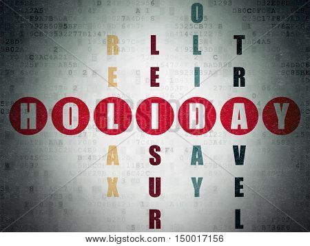 Tourism concept: Painted red word Holiday in solving Crossword Puzzle on Digital Data Paper background