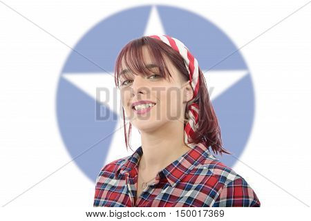 a portrait of beautiful young woman rockabilly style