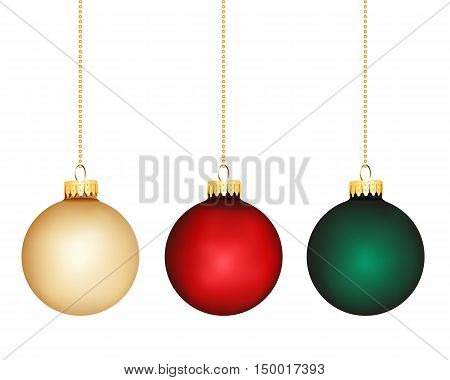 Christmas bauble colour variations on white background