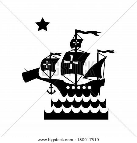Ship with flag of Columbus in sea icon in simple style isolated on white background. Maritime transport symbol vector illustration