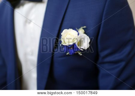 Groom Is Wearing A Suit Indoors. Male Portrait Of Handsome Guy. Beautiful Model Boy In Colorful Wedd