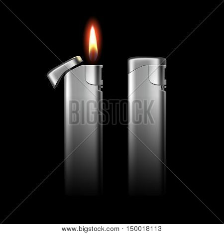 Vector Blank Metal Lighters with Flame Close up Isolated on Black Background