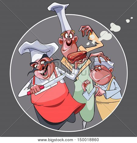cartoon three funny smiling cooks prepared food