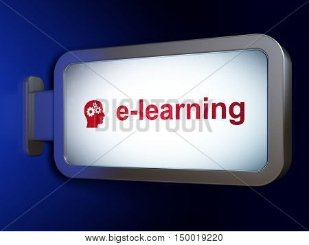 Education concept: E-learning and Head With Gears on advertising billboard background, 3D rendering