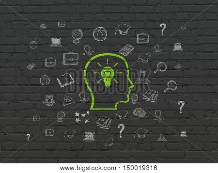 Education concept: Painted green Head With Lightbulb icon on Black Brick wall background with  Hand Drawn Education Icons