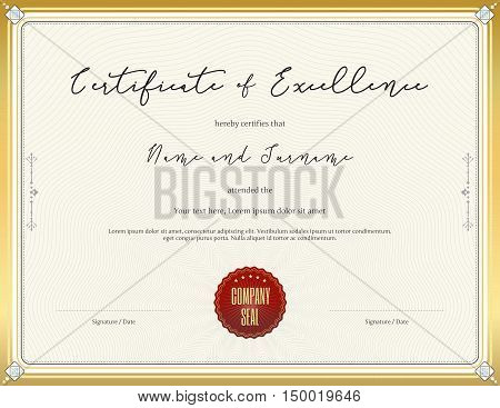 Certificate template for achievement appreciation completion excellence or particiation