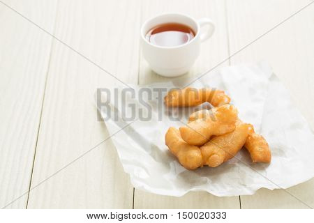 a kind of Chinese flour sweetmeat,deep-fried doughstick