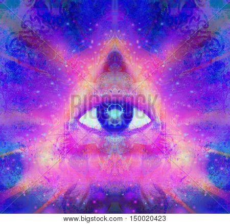 illustration of a third eye mystical sign , raster