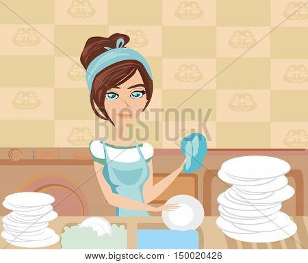 woman housewife washing the dishes in the kitchen , vector illustration