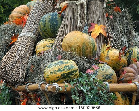 Rustic wagon laden with pumpkins and hay. Autumn farmer's crop
