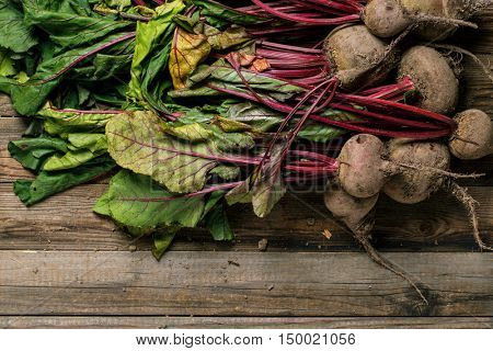 Beetroots with stems and leaves
