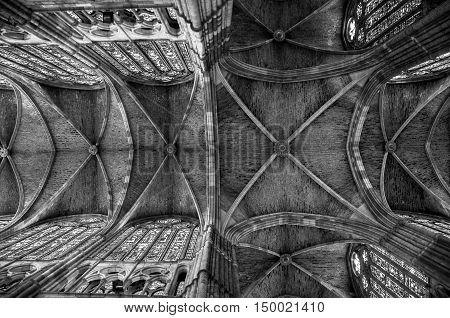 LEON, SPAIN - JULY 15, 2013: Interior of the Santa Maria Cathedral. It is one of the most important places for the Way of Saint James. Popular landmark. Black and white