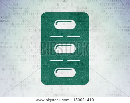 Health concept: Painted green Pills Blister icon on Digital Data Paper background