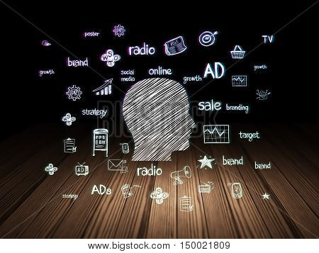 Advertising concept: Glowing Head icon in grunge dark room with Wooden Floor, black background with  Hand Drawn Marketing Icons