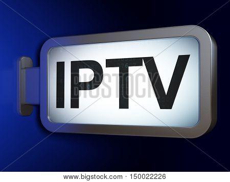 Web development concept: IPTV on advertising billboard background, 3D rendering