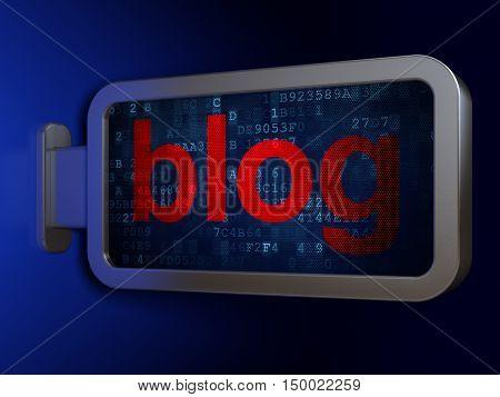 Web development concept: Blog on advertising billboard background, 3D rendering