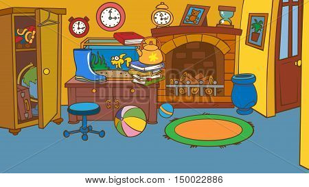 cartoon animated a children's room with lots of objects