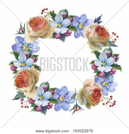 Wildflower myosotis flower wreath in a watercolor style isolated. Full name of the plant: forgetmenot, myosotis. Aquarelle flower could be used for background, texture, pattern, frame or border.