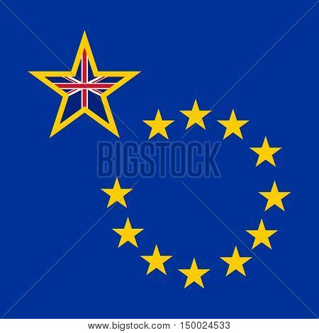 Brexit concept banner. British exit. England intends to withdraw from the European Union. Blue background with european golden stars and one big british star.