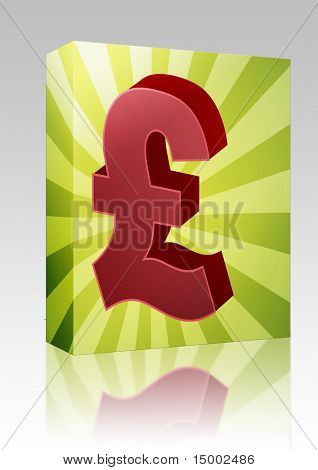Software package box British UK Pounds Currency symbol isometric illustration